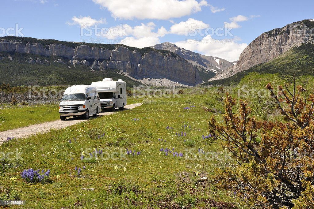 RVs in wilderness royalty-free stock photo