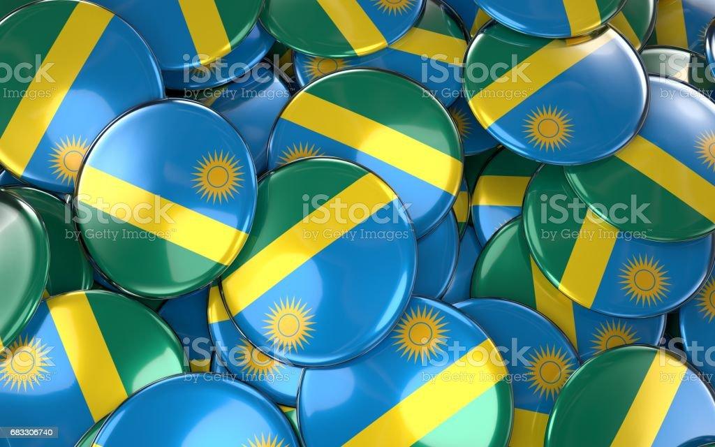 Rwanda Badges Background - Pile of Rwanda Flag Buttons. zbiór zdjęć royalty-free