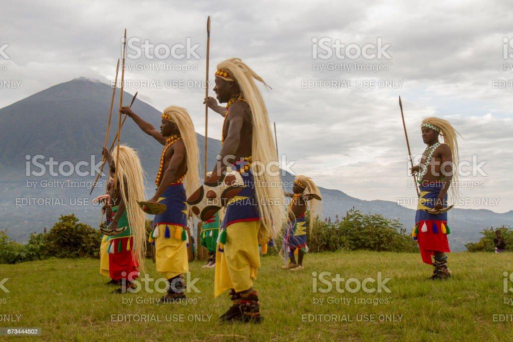Rwanda native dance troop, Virunga, Africa stock photo