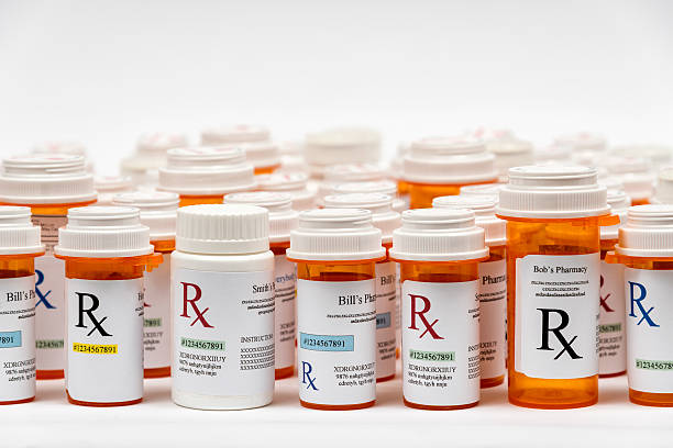 Rx Medicine Prescription Bottles stock photo