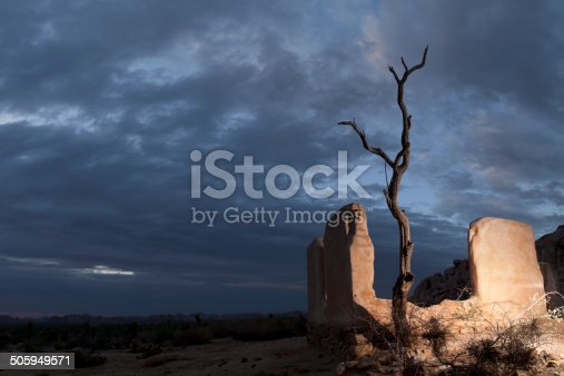Ryan Ranch ruin with cottonwood snag at twilight, Joshua Tree National Park