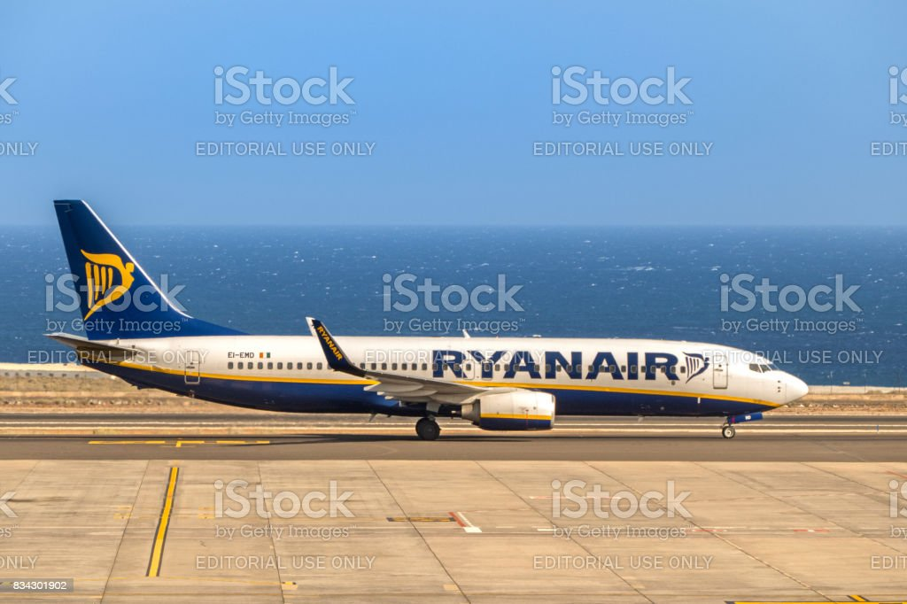 Ryanair Boeing 737-8AS on Tenerife south airport during take off. stock photo