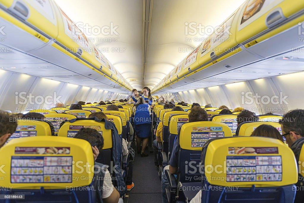Ryanair Jet airplanes interior. stock photo