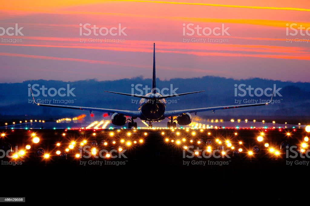 Ryanair Krakow Balice Airport. Boeing 737-8AS takes off from Balice Airport stock photo