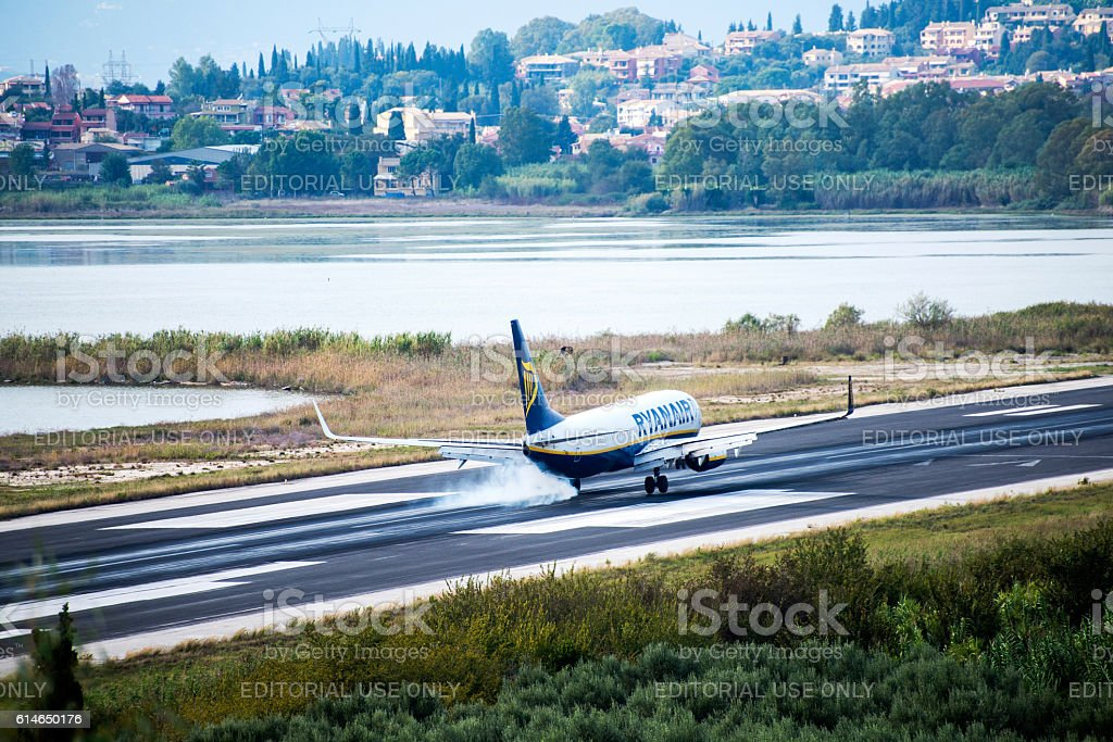 Ryanair passenger plane is approaching the airport stock photo