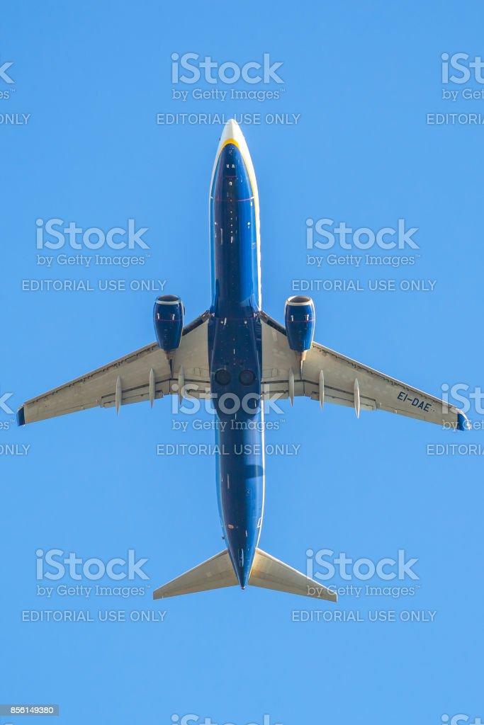ryanair plane in the sky stock photo