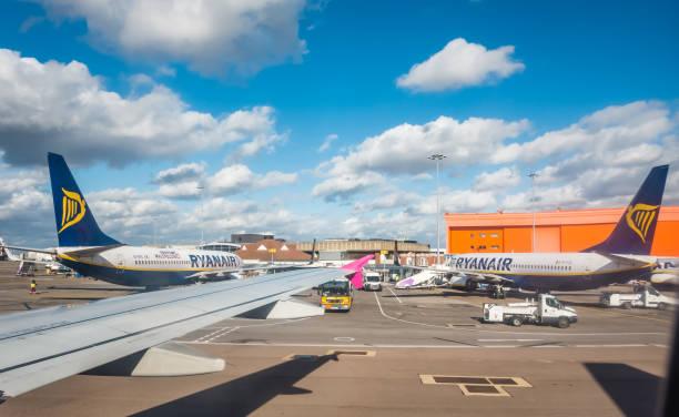 Ryanair planes on the airport stock photo