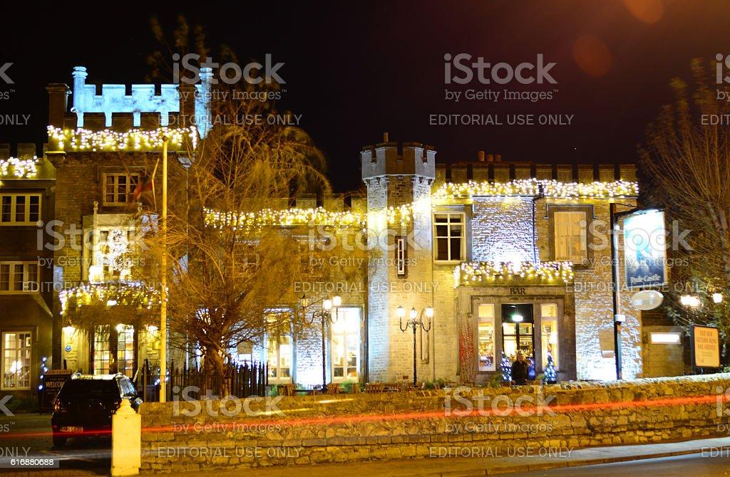 Ryde Castle Hotel Illuminated for Christmas stock photo
