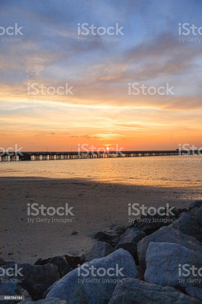Ryde Pier at Sunset stock photo