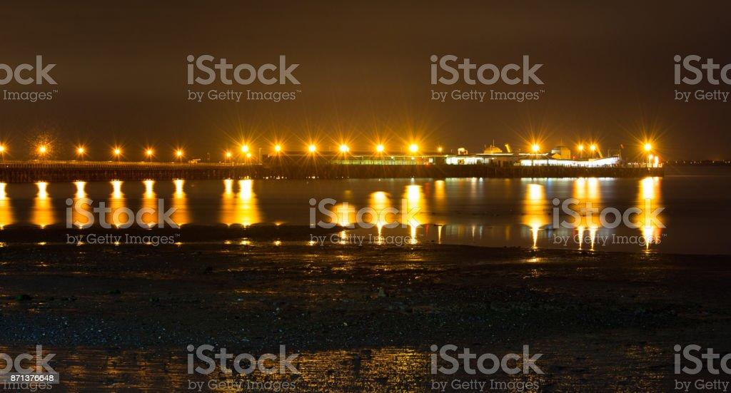 Ryde Pier Head at Night stock photo