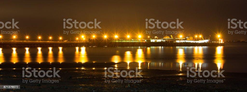 Ryde Pier Head Night Panorama stock photo