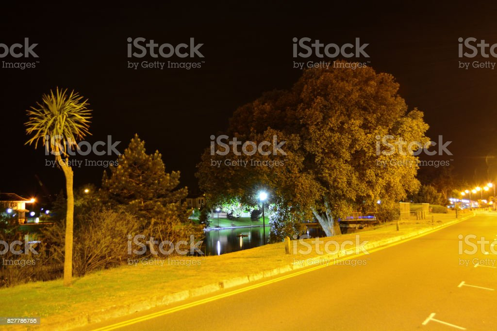 Ryde Seafront at Night stock photo