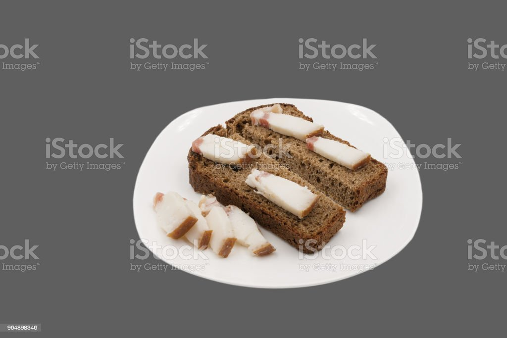Rye bread and slices of fat. royalty-free stock photo