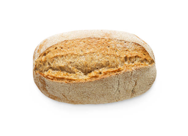 Rye bread loaf isolated at white background Rye bread loaf isolated. Fresh crusty bread at white background top view round loaf stock pictures, royalty-free photos & images