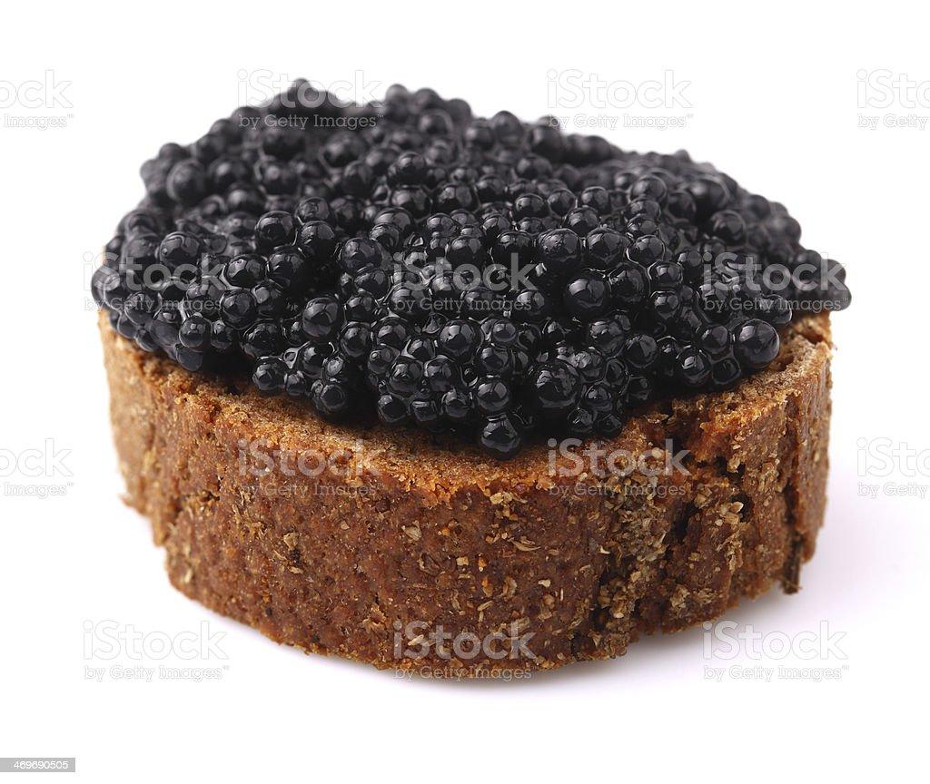Rye bread with caviar. stock photo