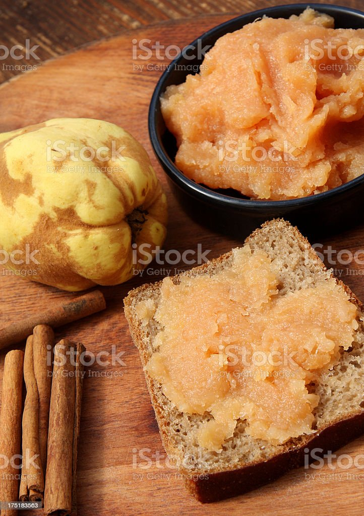 Rye bread with quince jam royalty-free stock photo