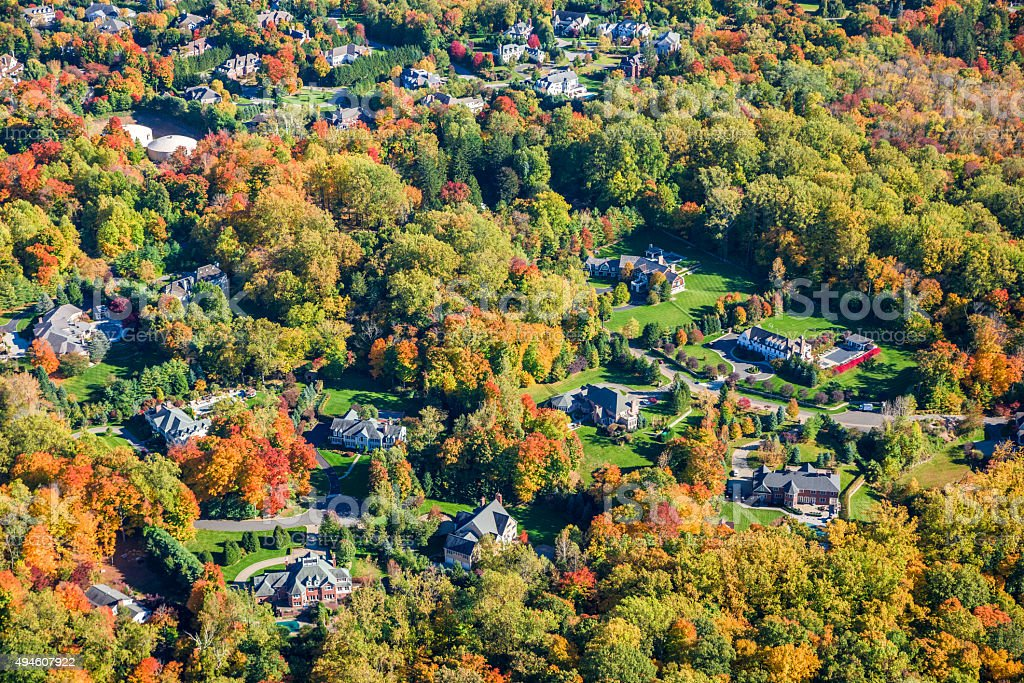 Rye Brook New York, suburban countryside, autumn foliage, aerial view stock photo