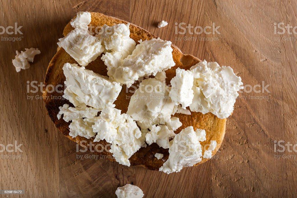 Rye sandwiches or bruschetta with ricotta cheese stock photo