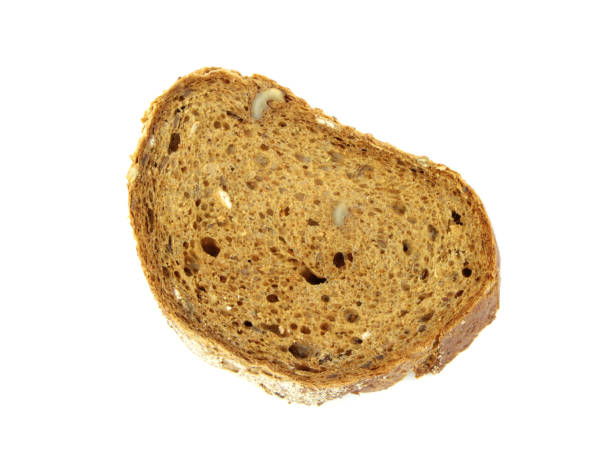 rye walnuts bread slice - pone stock photos and pictures