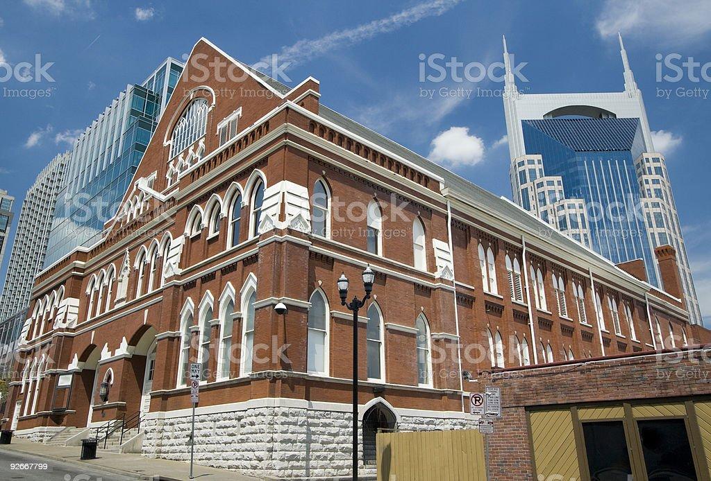 Ryman Auditorium in Nashville, Tennessee in daylight stock photo