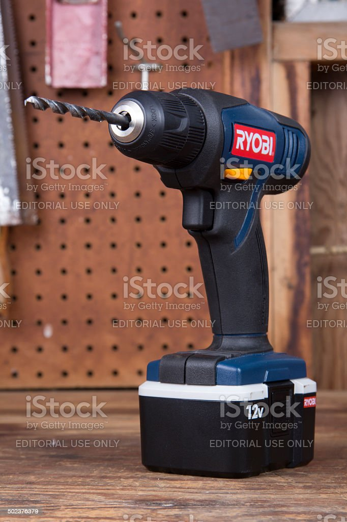 Ryobi drill on work bench royalty-free stock photo