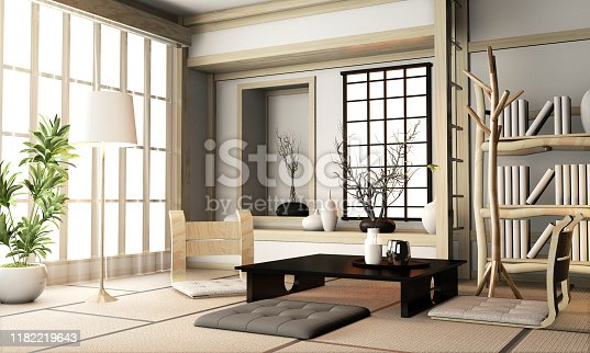 istock Ryokan living room japanese style with tatami mat floor and decoration.3D rendering 1182219643