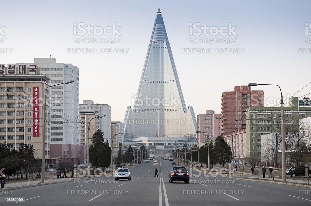 Ryugyong Hotel in Pyongyang stock photo