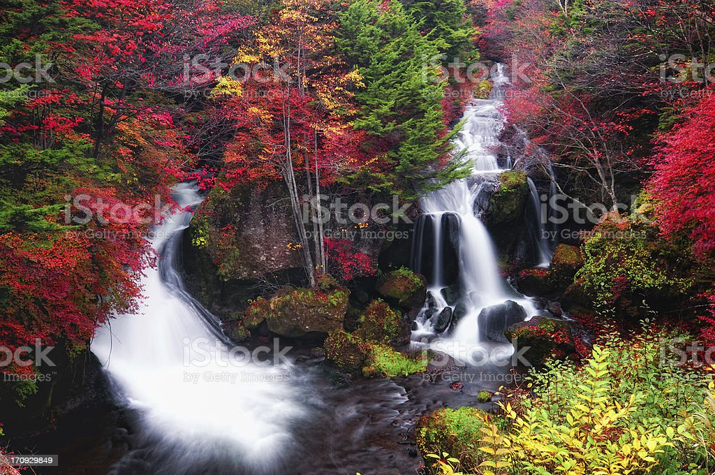 Ryuzu Falls in Autumn at dawn stock photo