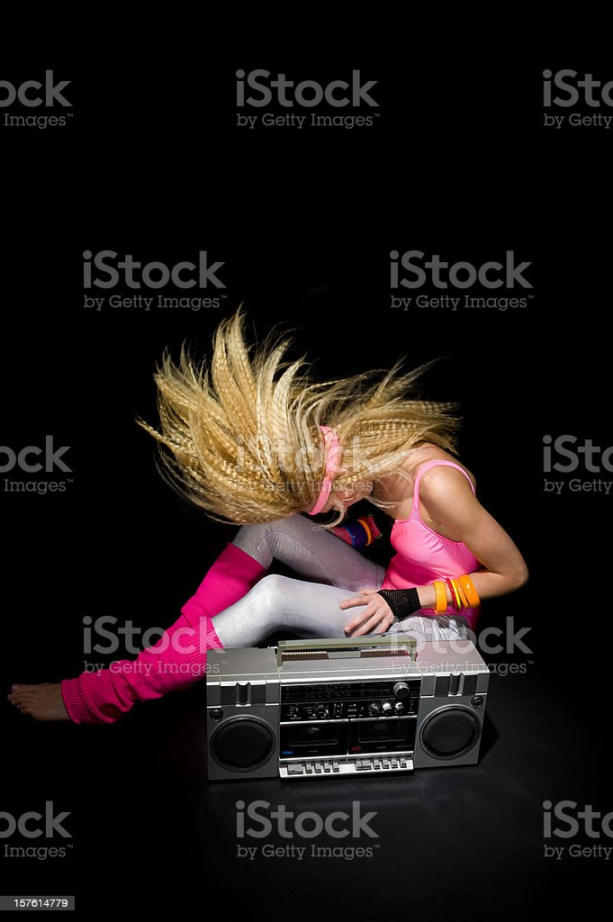 1980's aerobic instructor stock photo