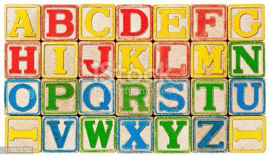 Old, grungy antique children's toy blocks used to show the Alphabet... just like the song!