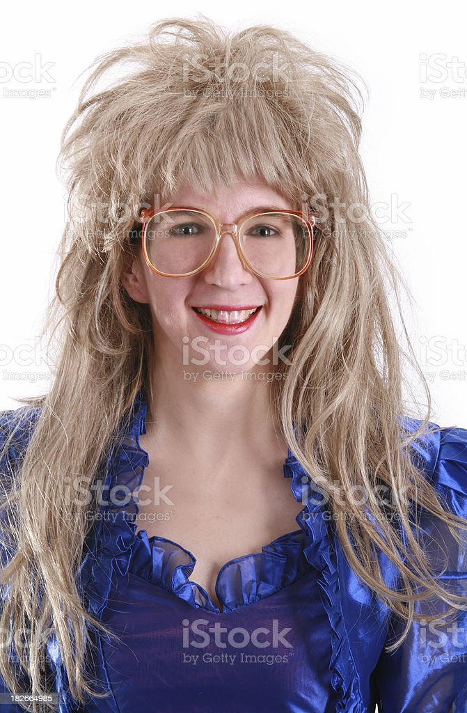 80's Big Hair:  Geek Glasses stock photo