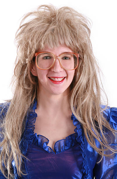 80's big hair:  geek glasses - prom fashion stock photos and pictures