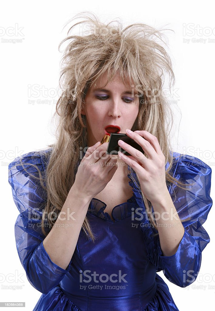 80's Big Hair: Getting Ready stock photo