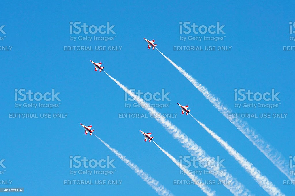 RSAF's Black Knights flypast at Singapore National Day Parade stock photo