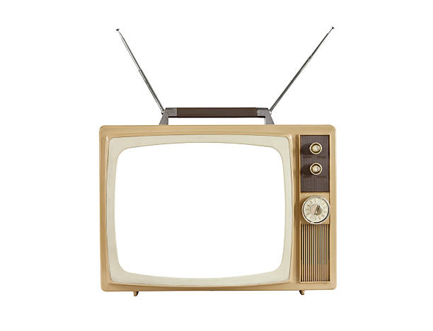1960's Blank Screen Portable Television with Antennas Up stock photo