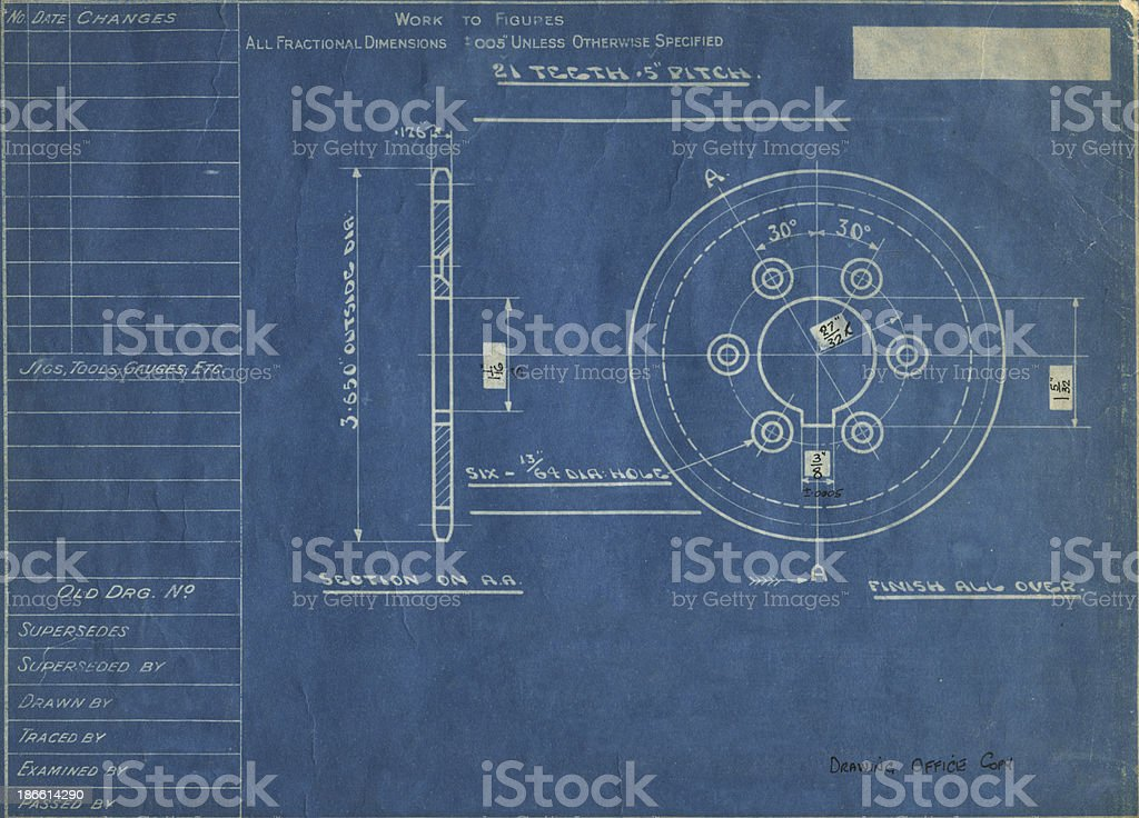 1930's blueprint royalty-free stock photo