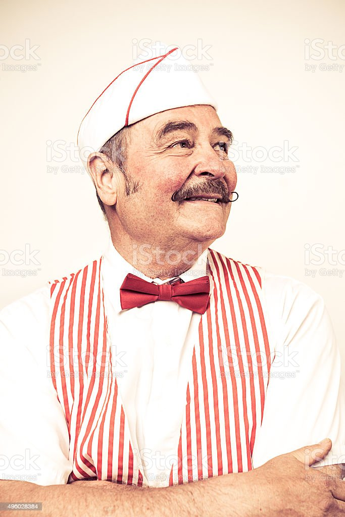 1950's Classic Diner Owner Portrait stock photo