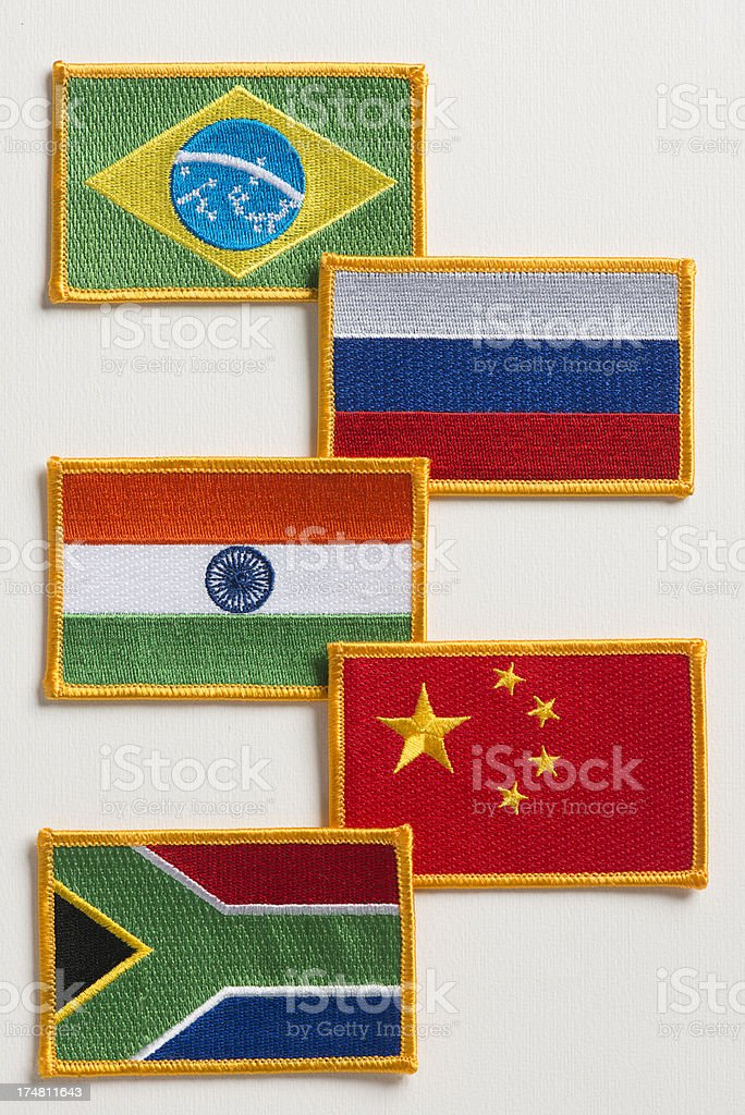 BRIC's countries flag patch stock photo