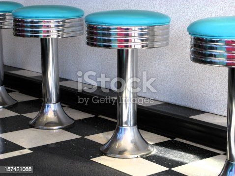 A view of teal blue stools at a vintage '60's diner.