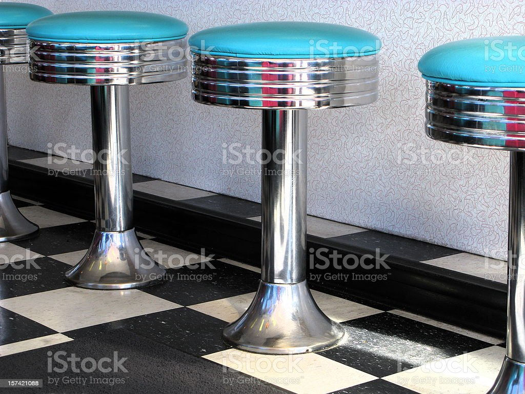 60's Diner Teal Blue Bar Stools Close Up stock photo