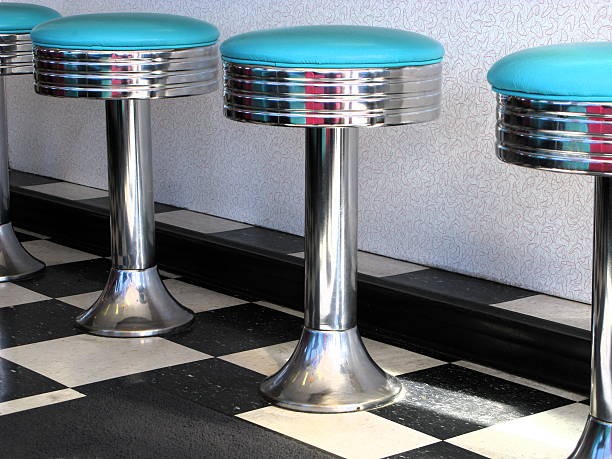 60's Diner Teal Blue Bar Stools Close Up stock photo