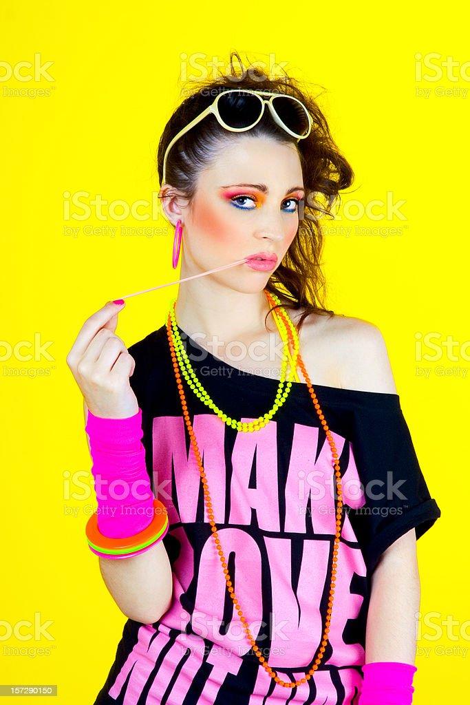 80's Disco Chick - bubble portrait royalty-free stock photo