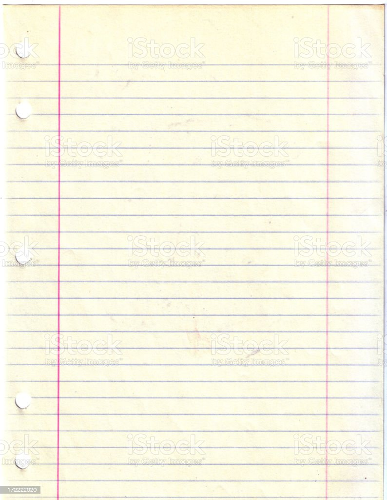 80's Faded Looseleaf Paper stock photo