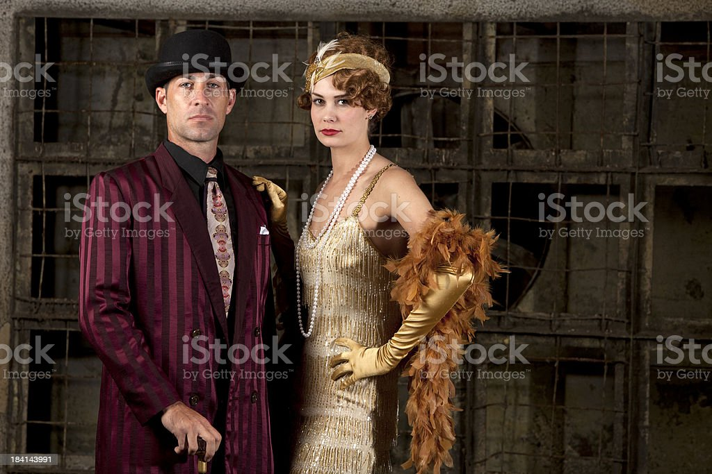 1940's gangster couple stock photo