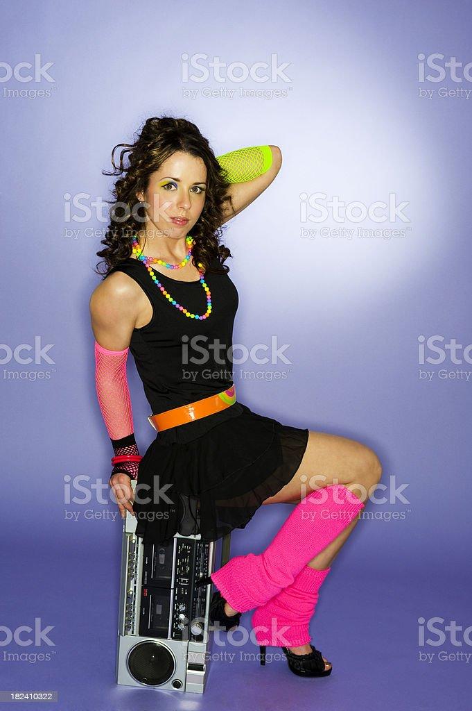 80's girl sitting stock photo