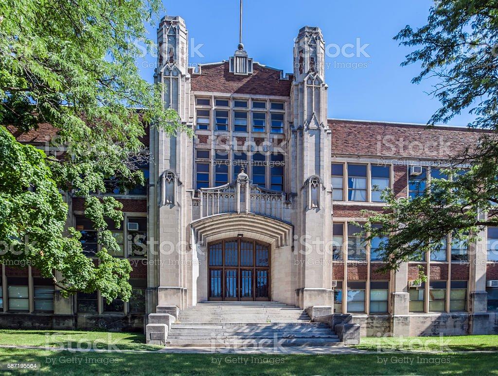 1950's High School Building stock photo