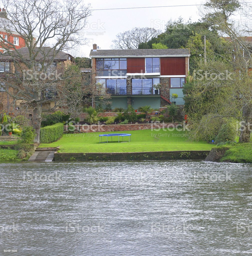 80's house by river royalty-free stock photo