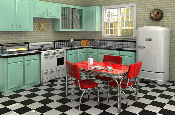 1950's kitchen - vintage stock photos and pictures