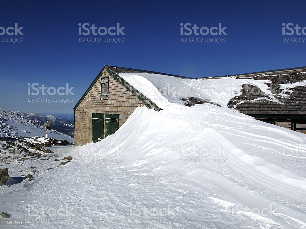 AMC's Lakes of the Clouds Hut in Winter stock photo