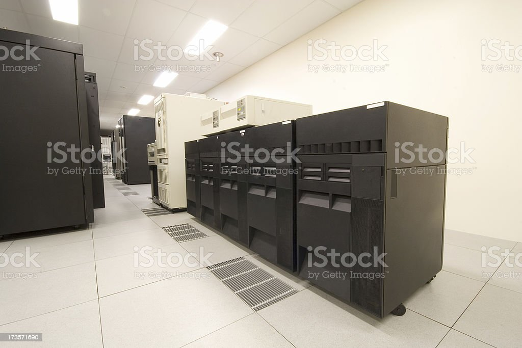 IBM AS400's Lined Up stock photo